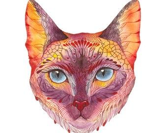 Koshka kitten face, Cat face artwork print, size 8x10 (No. 18)