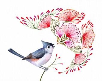 Titmouse Song, songbird art print, size 7x5 (No. 8s)