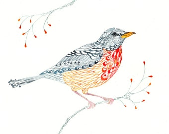 Lacy Robin // SALE 1+1 // Buy one get one FREE, bird and branch aquarelle art print, size 10x8
