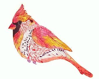 Jewel Cardinal // SALE 1+1 // Buy one get one FREE, Cardinal bird art print, size 10x8 Inch (No. 2)