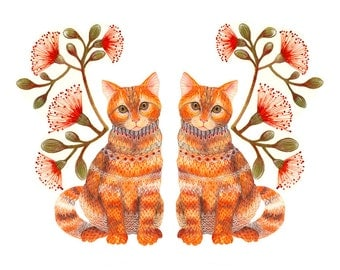 Cats couple, Lacy Twins animals art print by OlaLiola, size 10x8 (No. 20)