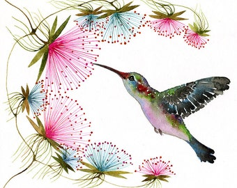 Hummingbird // SALE 1+1 // Buy one get one FREE, tiny bird art print, birds watercolor art, size 7x5 (No.29c)