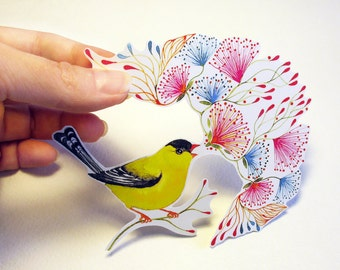 Little Singing Goldfinch song bird sticker, // SALE 3 for 2 // 100% waterproof vinyl label.