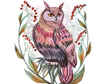 Owl bird art print, Harvest Owl by OlaLiola, size 8x10, (No. 33)