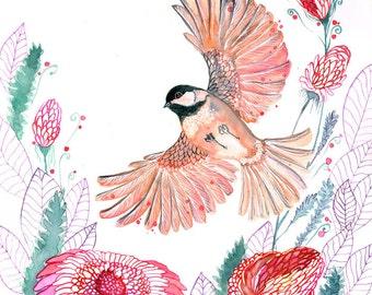 Chickadee, bird flight watercolor painting print by OlaLiola, size 8x10 (No. 44)