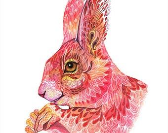 The squirrel spells, magic animal watercolor art print, size 10x8 (No. 39)
