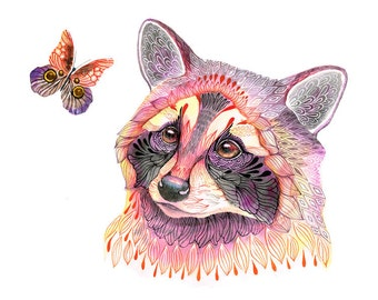Raccoon and butterfly, animal water color art print, limited edition 7/100 (No. 22)