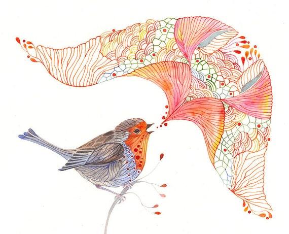 Robin singing bird art print, size 4x6