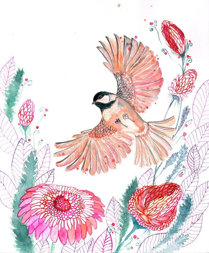 Watercolor Bird Flying Bird Flight Watercolor