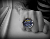 Custom Punk Rock bottle cap ring, music, band, jewelry, Tiger Army, rockabilly, psychobilly