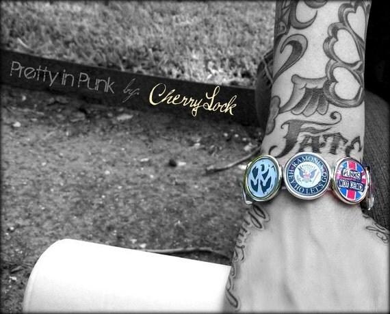 Punk Rock Photo Bracelet, misfits, ramones, sex pistols, pennywise, dead kennedys, goth hardcore