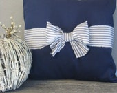 The Nichole - 18 x 18 Navy Blue and Natural Ticking Bow Pillow Cover