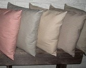 Ticking Pillow Covers - Black, Red, Beige, Brown and Blue