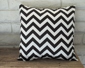 The Caylee -  18 x 18 Pillow Cover - Zig Zag in Black and White