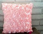 The Elizabeth -  18 x 18 Pillow Cover - Beautiful Pink Satin Ribbon Roses