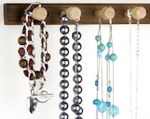 """Small, 12"""" Peruvian Walnut Necklace Holder Bar- Wall Mount Jewelry Holder Rack, Wood. 8 Pegs. Compact. Hanging Jewelry Rack"""