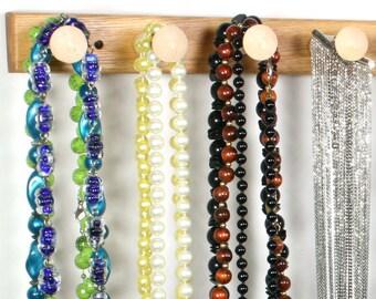 """Large Wide Necklace Holder - Necklace Organizer Bar, Wall Mount, Oak.  20"""", 14 Pegs, Wide Necklaces, Wide Bracelet Holder."""