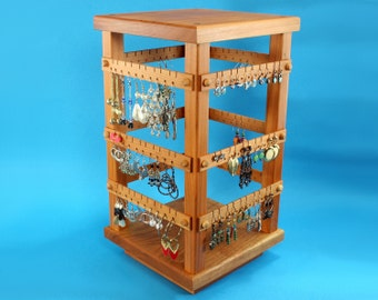 Earring Holder - Jewelry Organizer - Store Display, Cherry, Wooden, Jewelry Holder, 4 Sided, Spinning with Revolving Base. Holds 120 pairs