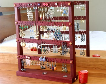 Jewelry Holder - Earring Holder Stand, Bloodwood, Red, Wood. Holds up to 72 pairs of earrings.  Jewelry Organizer - Earring Display