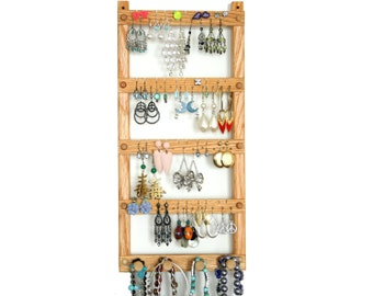 Earring Holder - Jewelry Display, Oak, Wood, plus Necklace - Jewelry Organizer.  Wall Mounted.  Holds up to 40 pairs, plus 4 pegs.
