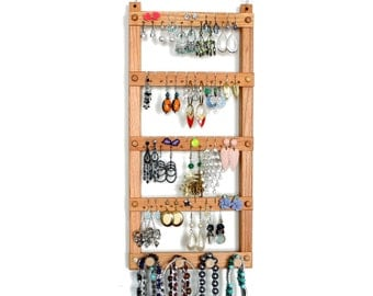 Earring Holder - Jewelry Holder, Cherry, Wood, Wall Mount with Necklace and Bracelet Jewelry Organizer.  Holds up to 40 pairs, 4 pegs.