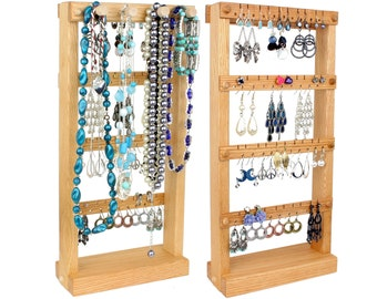 Jewelry Organizer - Jewelry Display, Oak, Wood, Stand, Necklace Bar. Holds up to 40 pairs of Earrings, plus 4 jewelry pegs.  Earring Display
