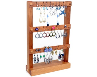 Jewelry Stand - Earring Holder Stand, Cherry, Wood.  Holds up to 30 pairs of Earrings.  Jewelry Organizer - Earring Stand