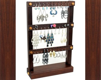 Jewelry Organizer - Earring Holder Stand, Peruvian Walnut, Wood, Chocolate, Dark Brown. Holds up to 30 pairs. Jewelry Holder