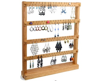 Oak Wooden Jewelry Holder - Earring Holder Stand. Holds up to 72 pairs of Earrings.  Jewelry Display - Jewelry Organizer