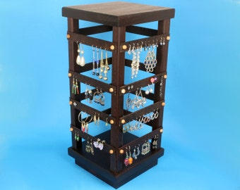 Jewelry Organizer - Jewelry Display - Earring Holder Stand, Wood, Spinning, Peruvian Walnut, 4-Sided Display with Revolving Base. 160 pairs