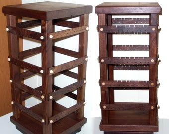 Jewelry Organizer - Jewelry Display - Earring Holder Stand, Wood, Spinning, Black Walnut, 4-Sided Display with Revolving Base. 160 pairs