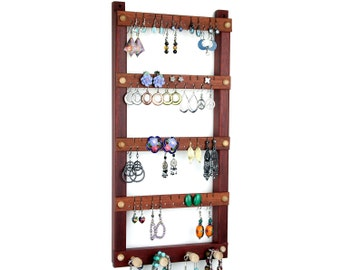 Earring Display - Jewelry Holder, Hanging, Wood, Bloodwood, Necklace Organizer. Holds 40 pairs, 4 pegs. Jewelry Organizer, Earring Holder