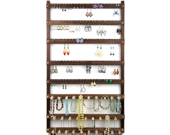 Jewelry Display, Earring Holder, Black Walnut, Wood, Necklace Holder. 120 Pairs, 29 pegs. Wall Mount Jewelry Holder - Jewelry Rack