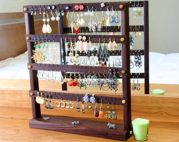 Earring Holder - Jewelry Organizer Stand, Peruvian Walnut, Wood.  Holds 72 Pairs of Earrings. Jewelry Display - Jewelry Holder