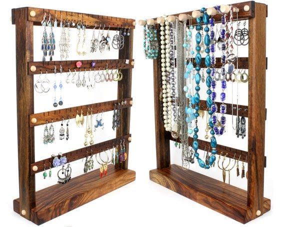 Jewelry Holder Stand - Jewelry Organizer Stand, Caribbean Rosewood, Necklace Holder. Holds 72 pairs, 8 pegs. Standing Jewelry Displa