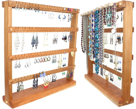 Earring Holder Stand - Jewelry Organizer, Cherry, Wood, plus Necklace Organizer. Holds up to 96 pairs of Earrings, 10 pegs. Jewelry Holder