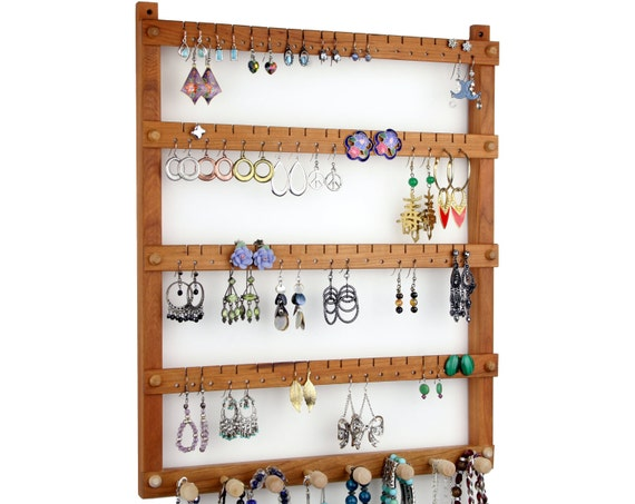 Earring Holder / Jewelry Holder, Cherry, Wood, Wall Mount with Necklace Holder. Holde 72 pairs of Earrings, plus 8 pegs. Jewelry Organizer