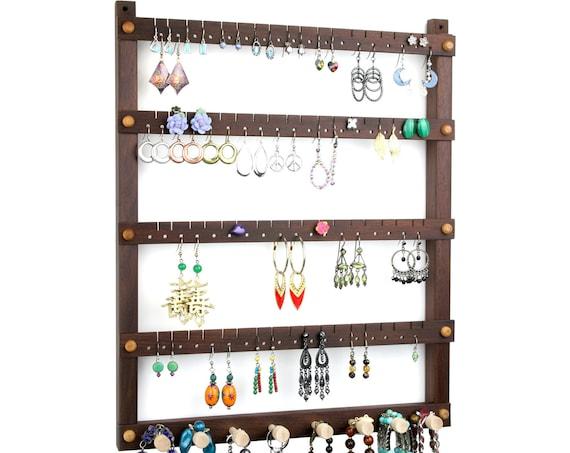 Jewelry Holder, Earring Holder, Hanging, Wood, Peruvian Walnut, Dark, Chocolate Brown, Necklace Holder. 72 pairs, 8 pegs. Jewelry Organizer