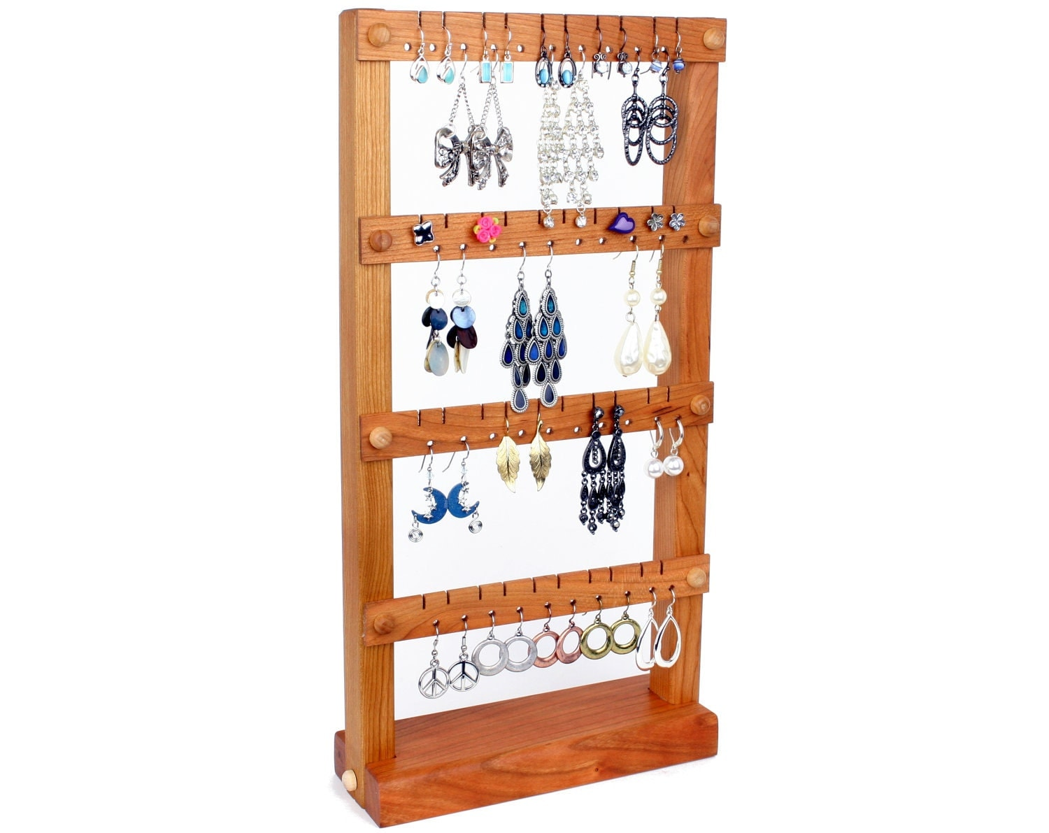 earring holder jewelry organizer stand wood cherry holds. Black Bedroom Furniture Sets. Home Design Ideas