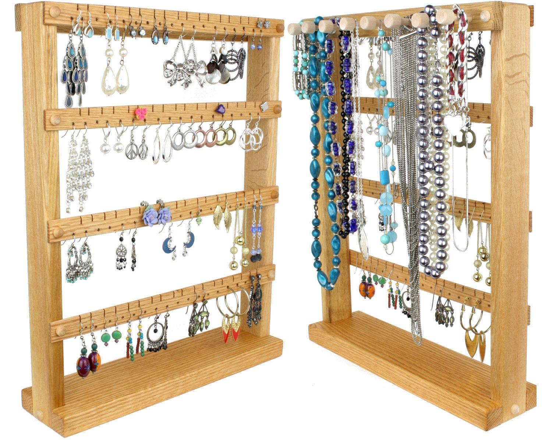 earring holder stand jewelry display oak wood plus. Black Bedroom Furniture Sets. Home Design Ideas