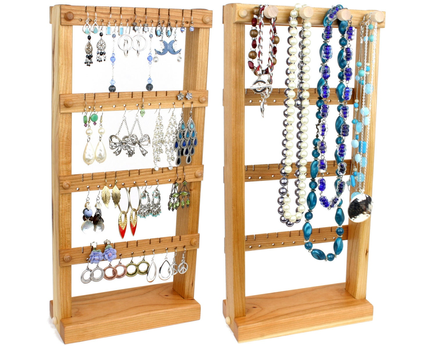 jewelry organizer jewelry holder stand wood cherry plus. Black Bedroom Furniture Sets. Home Design Ideas