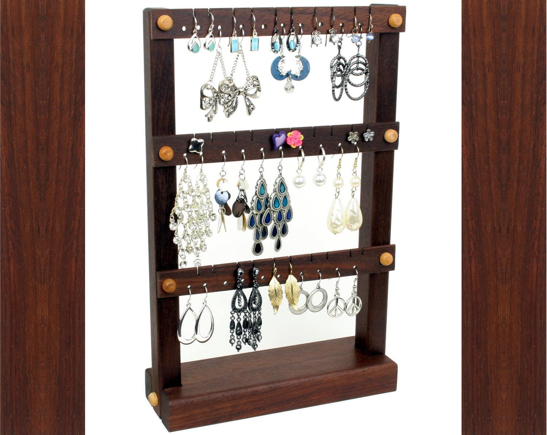 jewelry organizer earring holder stand peruvian walnut. Black Bedroom Furniture Sets. Home Design Ideas