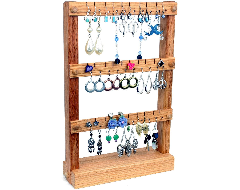 earring holder jewelry holder stand jewelry organizer oak. Black Bedroom Furniture Sets. Home Design Ideas