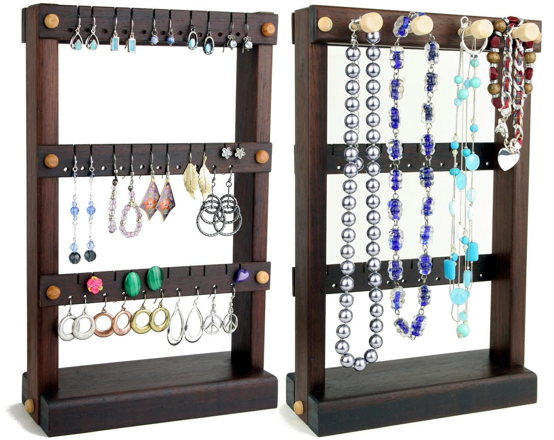jewelry holder stand earring holder wood peruvian walnut. Black Bedroom Furniture Sets. Home Design Ideas