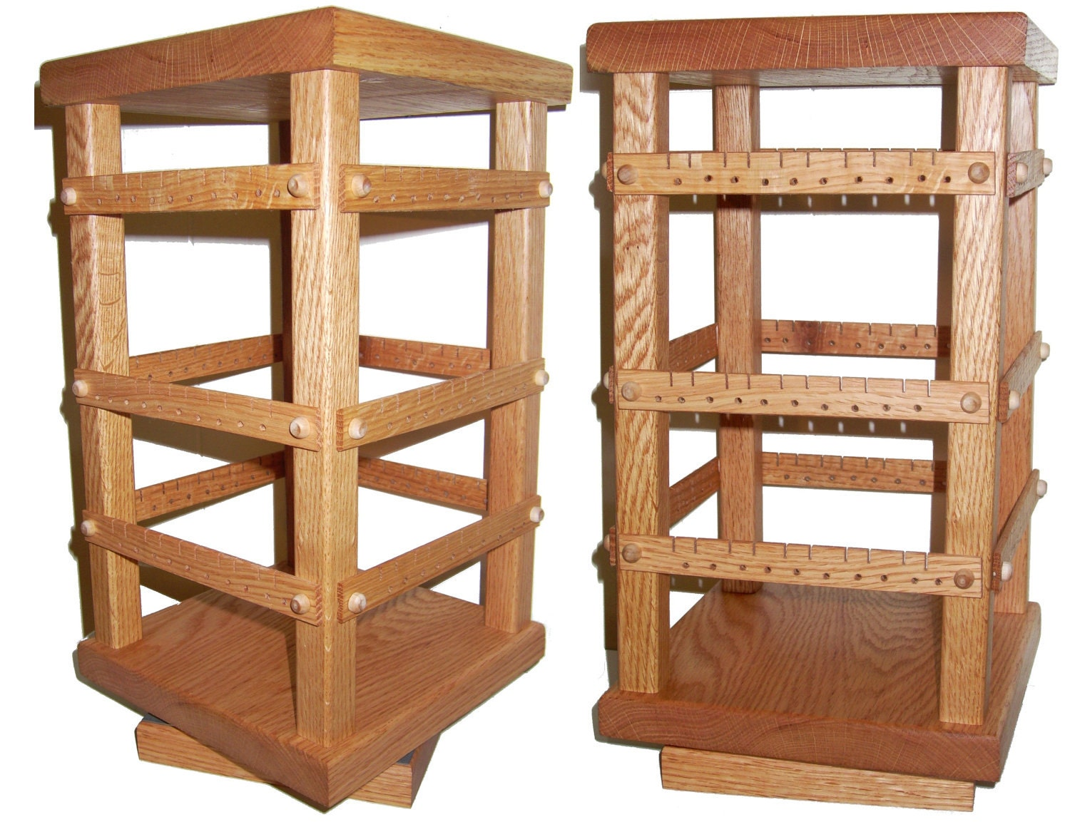 rotating earring holder stand oak wooden jewelry display 4. Black Bedroom Furniture Sets. Home Design Ideas