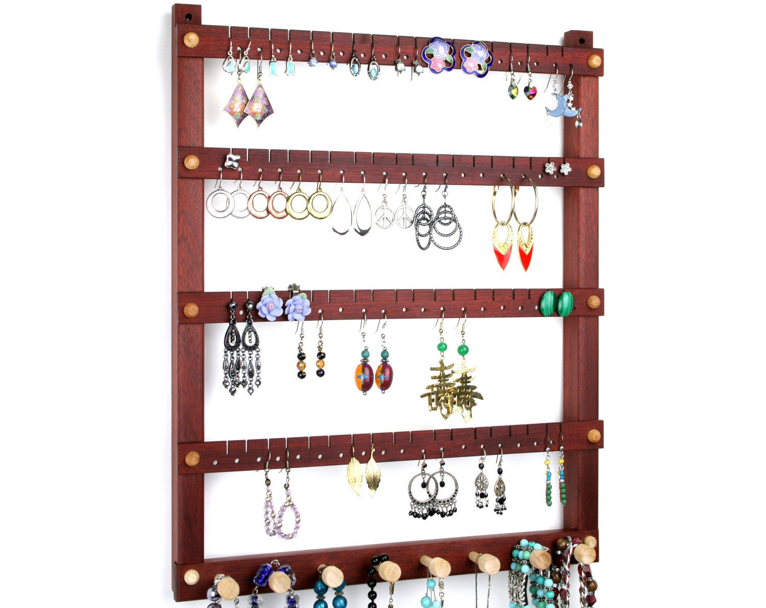 earring holder jewelry organizer hanging wood bloodwood