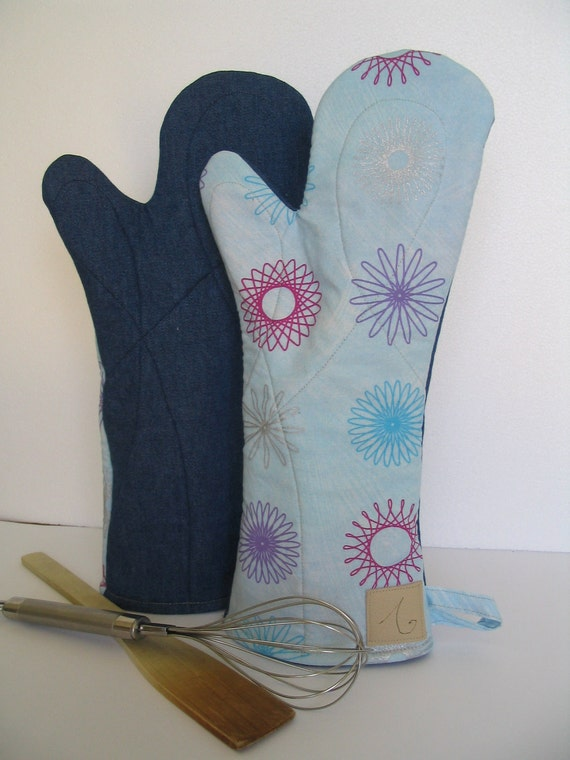 Snow flake long oven gloves
