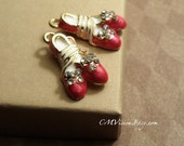 2pc of Painted A Pair of Glossy Scarlet Ballet Princess Shoes,Bow, Shiny Rhinestones/Crystal, Dancer, Ballerina, Charm Pendant Drop Gs S53