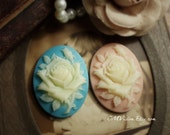 4pcs Set of 30x40mm Highly Detailed Large Oval Resin Rose Cameo (Sky blue, Pale pink) Pendant Drop Sq Sa2