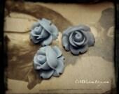 10pcs (Matte Foggy Blue) - 12mm Quality Cutie Chubby Resin Rose - Best Deal Sq